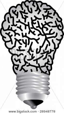vector symbolic illustration with bulb lamp brain