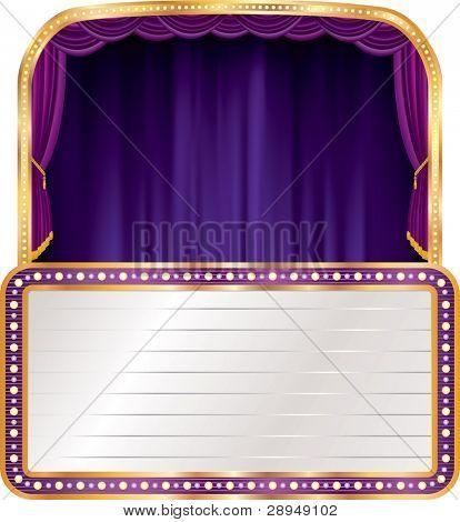 vector purple velvet stage with blank billboard