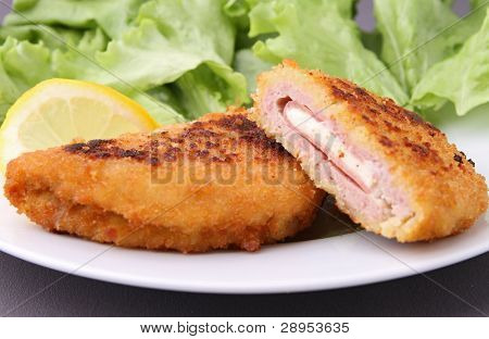 gourmet cordon blue and salad