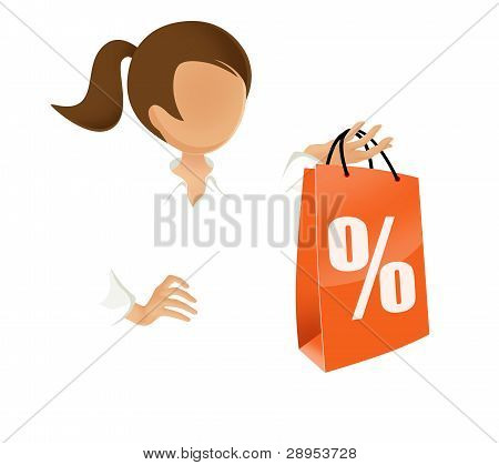 woman with discount shopping bag