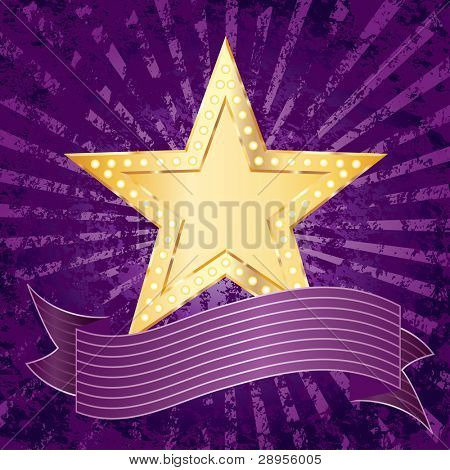 vector background with golden star over purple rays