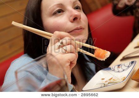 Girl In Japan Restaurant