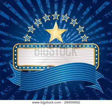 vector ten stars with blank billboard on blue grunge rays