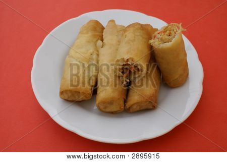 Chicken Spring Rolls. Pastry Parcels Filled With Chicken & Vegetables
