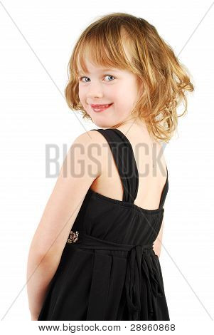 Caucasian Girl In Elegant  Evening Dress