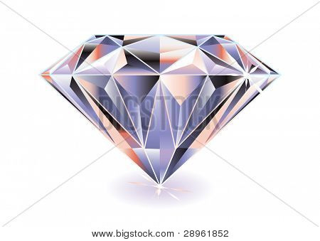 Artistic brightly colored cut diamond with shadow and reflection