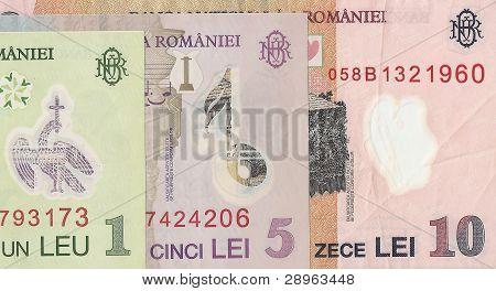 Romanian banknotes - 1 and 5 Romanian leu, the fragment.