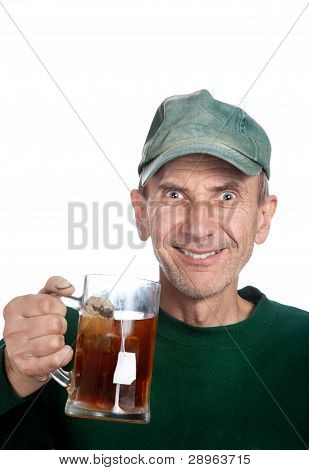 Man Holding Mug With Tea