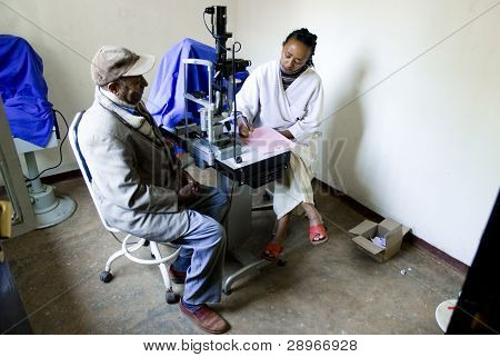 A Patient's Eyes Are Examined In The Examination Rooms By A Catract Surgeon At The Nekemte Eye Clini
