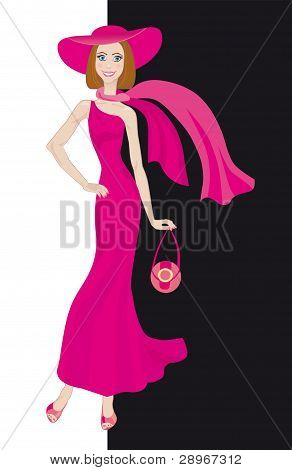 Glamour Lady In Pink Dress
