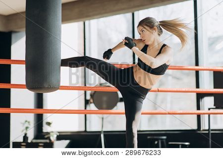 poster of Kickboxing Woman Training Punching Bag In Fitness Studio Fierce Strength Fit Body