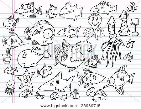 Notebook Doodle Summer Ocean Animal Design Elements Vector Illustration Set