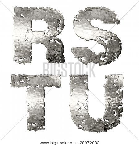 Metallic alphabet isolated on white background.