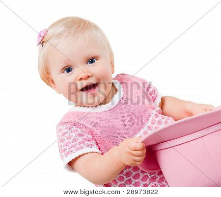 Smiling Infant Girl Isolated On White