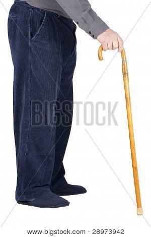 Body Of Senior Man Leaning On Cane