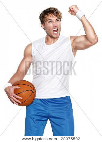 Basketball player isolated celebrating winning holding basket ball isolated on white background
