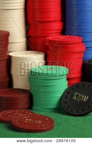 Stacks Of Antique Poker Chips
