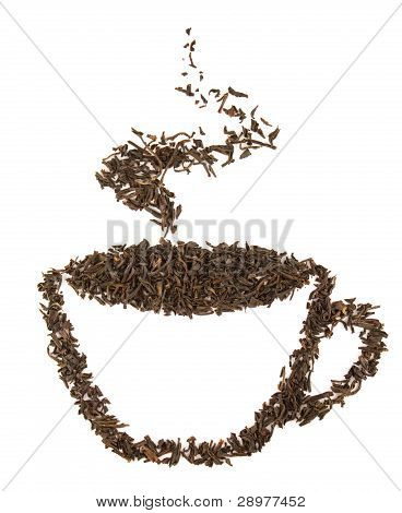Aromatic Cup Of Tea Made Of Black Dry Tealeafs