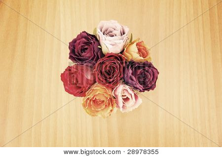 Top view of artificial bouquet