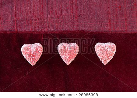 Three Sugar Candy Hearts