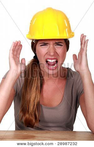 Woman with helmet screaming