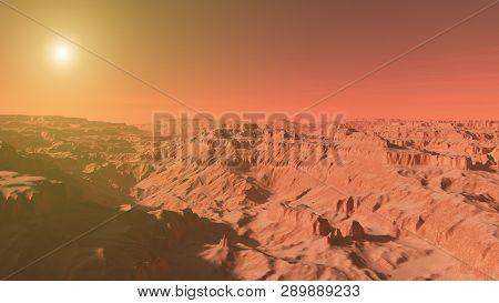 Mars Landscape A 3d Render