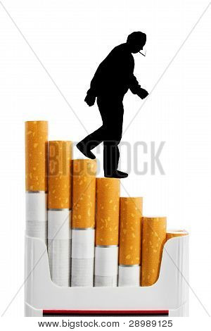 Smoker On Cigarettes Stairs