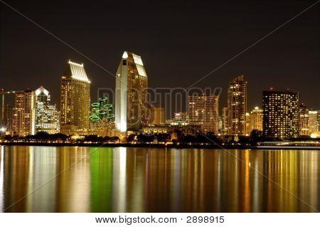San Diego Skylines At Night