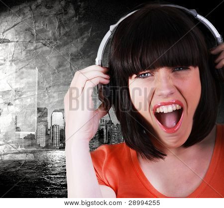 woman listening music in her room