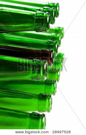 Beer Bottles Of Green Glass And A Brown