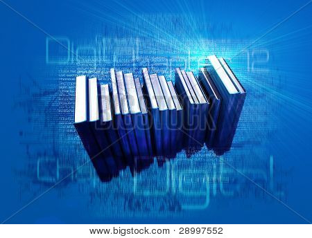 Conceptual Illustration On The Theme Of Digital Ebooks