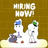 Handwriting Text Hiring Now. Concept Meaning Workforce Wanted Employees Recruitment. poster