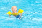 Baby In Swimming Pool. Kids Swim. poster