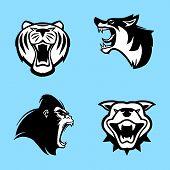 Best Lion Head Logo Vector Set ,tiger Vector Concept Illustration. Lion Head Logo. Wild Lion Head Gr poster