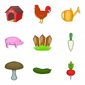 Agricultural Land Icons Set. Cartoon Set Of 9 Agricultural Land Icons For Web Isolated On White Back poster