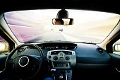 image of speedo  - Inside car view at high speed - JPG