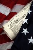 American Beginnings - Betsy Ross first flag and United States Constitution