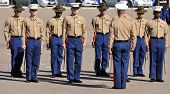 Officers and Drill instructors of the United States Marine Corp standing at attending during a cerem