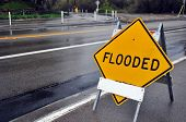 stock photo of rainy day  - Flooded sign  - JPG