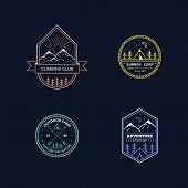 Set Of Badge Design For Outdoor Activities. Line Art Illustration. Mountain Expedition, Outdoor Camp poster