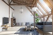 modern attic living room interior design. 3d illustration concept poster