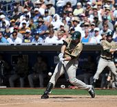 Perfect Left-handed swing - San Diego Padres Adrian Gonzalez hits a ball during a game on June 22nd,