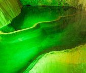 Cave Lake Nature Background. Amazing Cave Lake Nature Background. Artificial Green Lights In Cave. N poster
