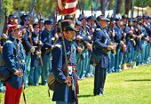 HUNTINGTON BEACH, CA - SEP 04: Union Army soldier actors honor the 1861-1865 American Civil War duri