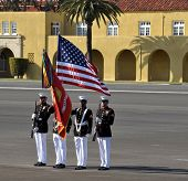 SAN DIEGO, CALIFORNIA - MARCH 12: The United States Marine Corps Colorguard performs for the public