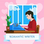Romantic Writer Typewriter Concept Background. Flat Illustration Of Romantic Writer Typewriter Conce poster