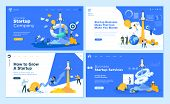 Set Of Flat Design Web Page Templates Of Startup Company, Business Ideas, Consulting, Crowdfunding.  poster