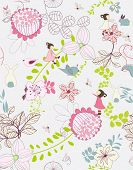 image of garden eden  - seamless whimsical floral background - JPG