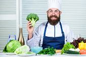 I Choose Only Healthy Ingredients. Man Cook Hat And Apron Hold Broccoli. Healthy Nutrition Concept.  poster