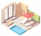 Vector Isometric Home Or Hotel Resort Outdoor Pool Lounge With Umbrella, Shower And Pool Chaise Loun poster